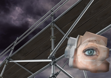 gloom: Digital composite of Eye structure with 3D Scaffolding