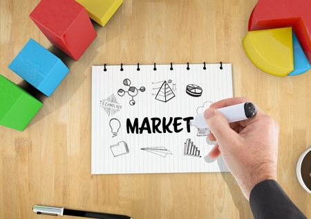 flooring: Digital composite of Market graphic on a notebook on a desk