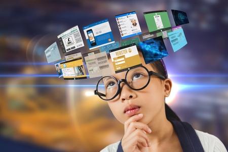 street shot: Digital composite of Composite image of woman and 3d websites