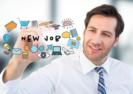 Digital composite of Business man with marker behind job doodles and flare in blurry grey office