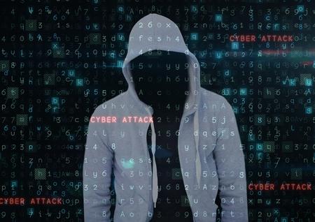 intruding: Digital composite of Grey jumper hacker. cyber attack Stock Photo