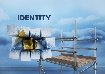 Digital composite of Identity Text with 3D Scaffolding and eye in blocks