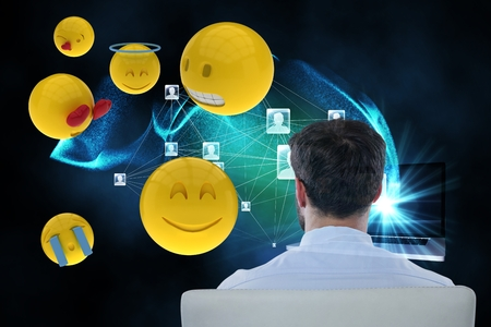 round chairs: Digital composite of Composite image on businessman and smileys is 3d