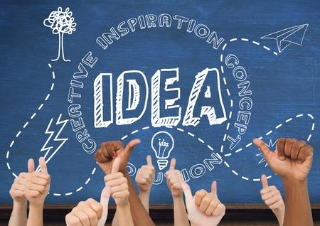 floorboards: Digital composite of Thumbs up idea, blue blackboard background