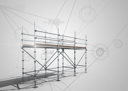 Digital composite of Connections technology background with 3D Scaffolding Stok Fotoğraf