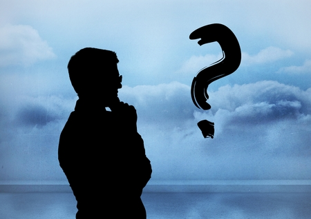 Digital composite of Silhouette with question mark