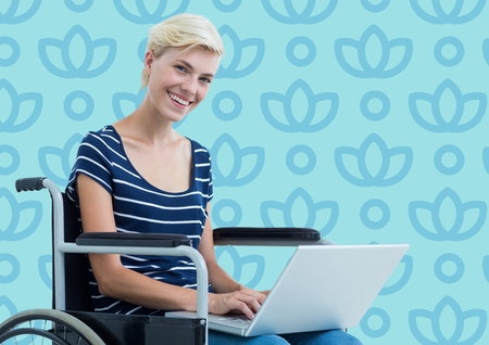 Digital composite of Woman in wheelchair against blue floral pattern