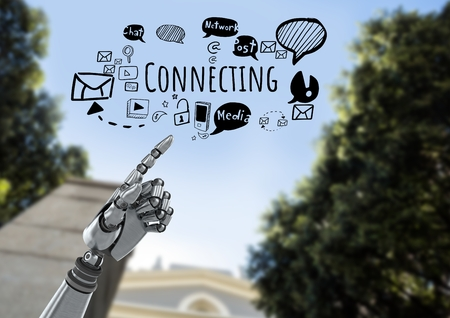 Digital composite of robot hand pointing and Connecting text with social media drawings graphics