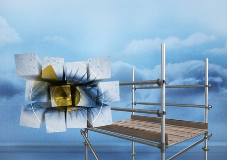 Digital composite of Eye on blocks in sky with 3D Scaffolding