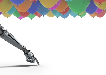 Digital composite of Android hand pointing with balloons Stock Photo