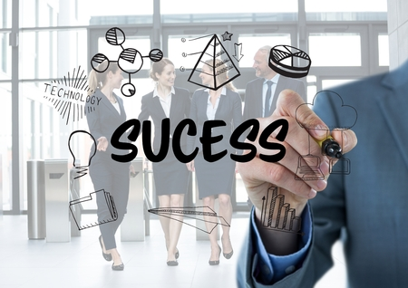 accomplish: Digital composite of Sucess graphic. Business men writing it.