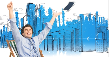 Digital composite of Composite image of happy business man against original background
