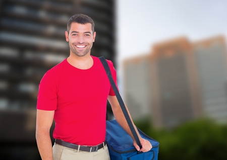 residential tree service: Digital composite of Happy pizza deliveryman with delivery bag in the city