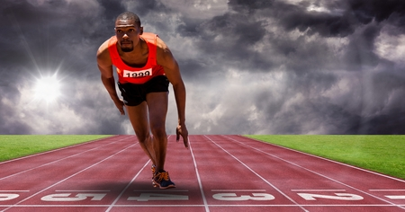 Digital composite of Composite image of man doing sport