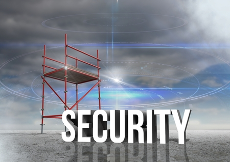 Digital composite of Security Text with 3D Scaffolding and cloudy sky