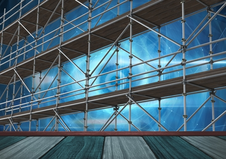 metal grate: Digital composite of Technology vortex interface with shelf and 3D Scaffolding Stock Photo