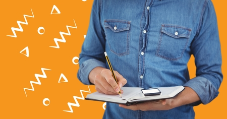 multi finger: Digital composite of Man denim shirt mid section with notebook against orange background with white patterns