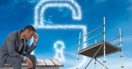 black man thinking: Digital composite of Man sitting by lock security cloud with  3D Scaffolding
