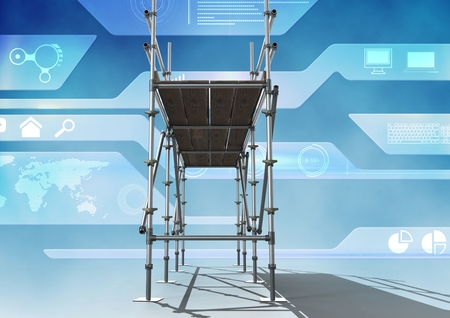 western script: Digital composite of Technology interface with 3D Scaffolding Stock Photo