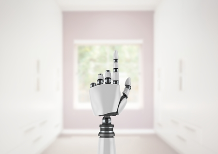 storage compartment: Digital composite of Android Robot hand pointing with bright room gallery background