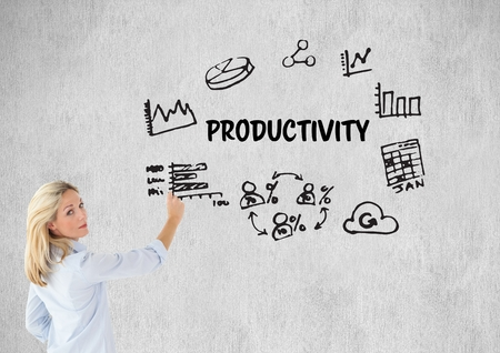 Digital composite of Woman drawing a graphic about productivity