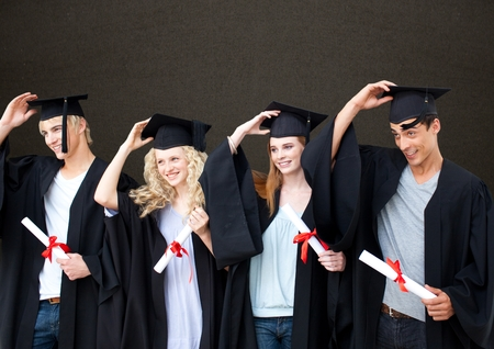 floorboards: Digital composite of Graduate students against blackboard