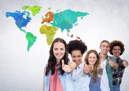 Digital composite of Group of people next to Colorful Map with wall room background Stock Photo