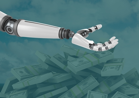 cropped: Digital composite of Robot hand open with green background