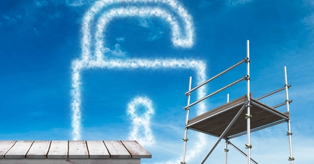 Digital composite of lock security cloud with  3D Scaffolding and wooden shelf Stock Photo