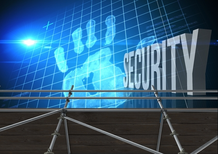 Digital composite of Security Text with 3D Scaffolding and hand grid interface Stock Photo