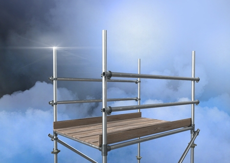 Digital composite of Mysterious clouds with 3D Scaffolding Stock Photo