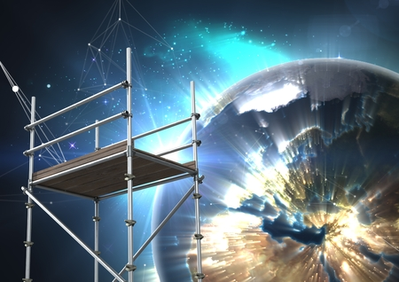 Digital composite of Planet earth interface with 3D Scaffolding