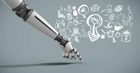 Digital composite of Android hand pointing with idea brainstorm and Business graphics drawings Stock Photo