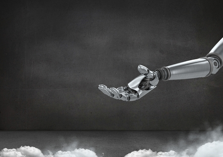 Digital composite of Robot hand open with grey background