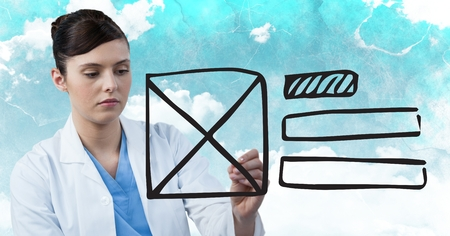 well dressed woman: Digital composite of Doctor with marker and website mock up against sky