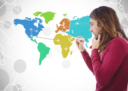 Digital composite of Man drawing on Colorful Map with connected background
