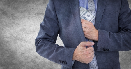 western script: Digital composite of Business man mid section putting money away against white grunge background