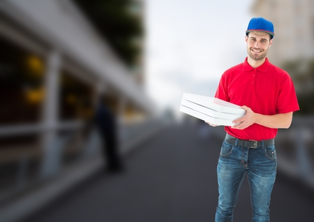 Digital composite of Happy deliveryman with pizza boxes in a bridge