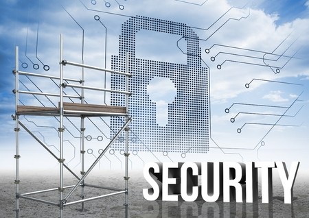 part time: Digital composite of Security Text with 3D Scaffolding and lock interface