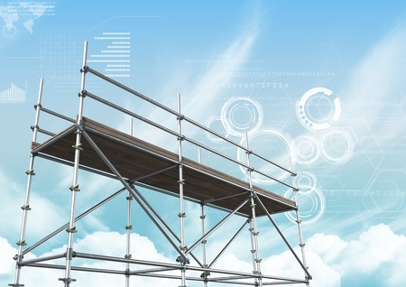Digital composite of Blue sky with technology interface and 3D Scaffolding Stok Fotoğraf