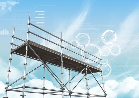 Digitale composiet van blauwe hemel met technologie interface en 3D steiger Stockfoto