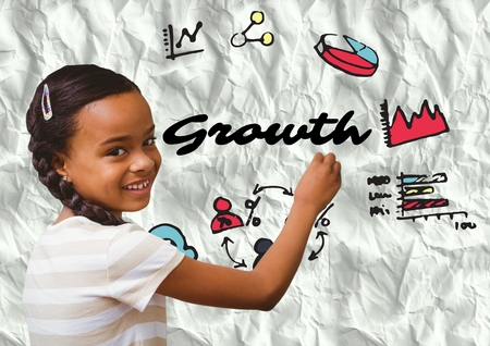 Digital composite of Kid writing growth doodles on paper