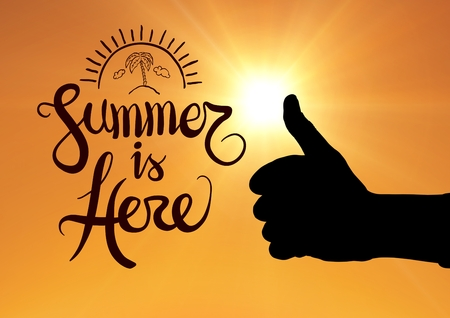 cordless: Digital composite of Thumbs up summer is here Stock Photo