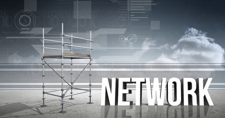 western script: Digital composite of Network Text with 3D Scaffolding and technology interface landscape Stock Photo