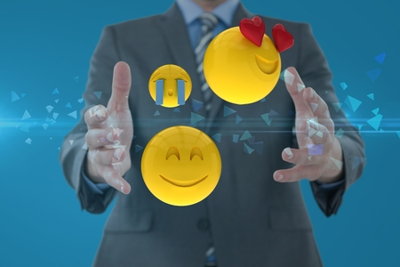 Digital composite of Composite image of man and smileys in 3d Stock Photo