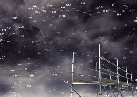 metal grate: Digital composite of Connected numbers in dark clouds with 3D Scaffolding Stock Photo