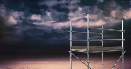 Digital composite of Sky landscape and 3D Scaffolding Stock Photo