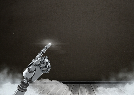 floorboards: Digital composite of Android Robot hand pointing with dark blackboard background