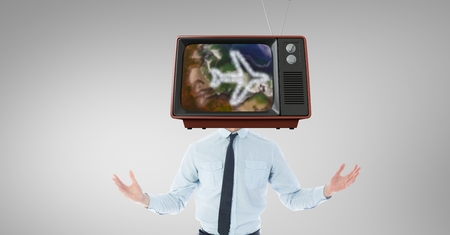 Digital composite of TV on businessmans head with travel concept