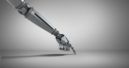 Digital composite of Robot hand pointing with grey background